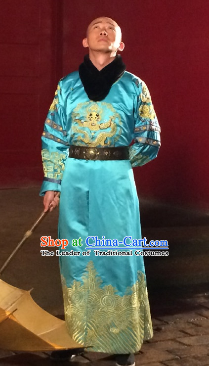 Traditional Chinese Ancient Prince Costumes and Hat Complete Set for Men
