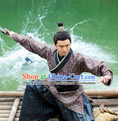 Traditional Chinese Ancient Swordman Dress Complete Set for Men