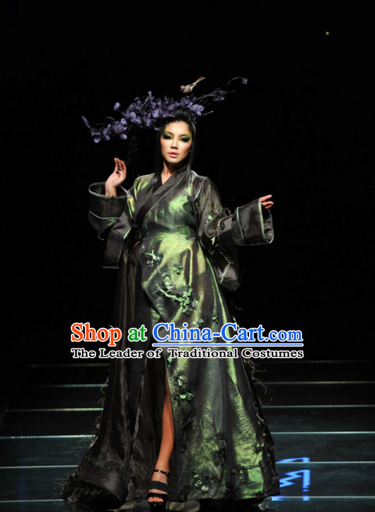 Asian Chinese Fashion Custom Tailored Custom Make Made to Order Chinese Style Custom Made Professional Stage Performance Costumes and Hair Decoration Complete Set