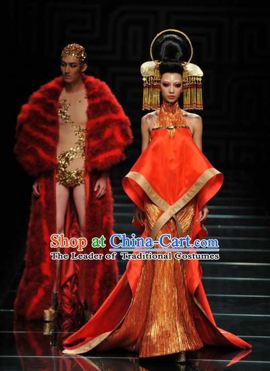 Asian Chinese Fashion Custom Tailored Custom Make Fantasy Red Fur Long Robe Garment
