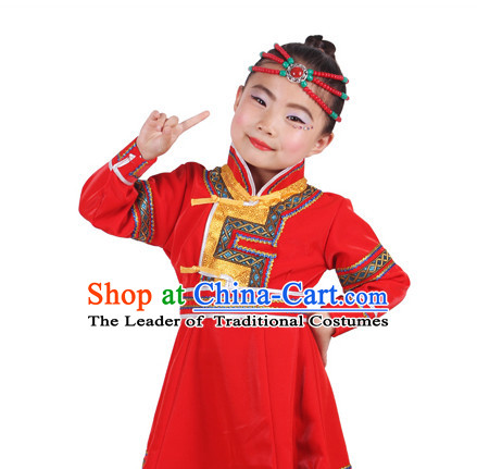 Chinese Traditional Ethnic Mongolian Clothes and Hair Accessories Complete Set for Girls