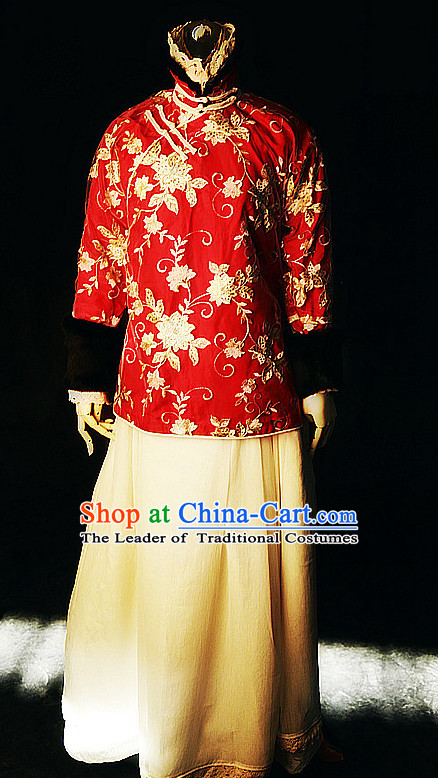 Chinese Traditional Mandarin Minguo High Collar Wedding Dresses Complete Set for Women Girls