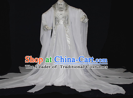 Ancient Chinese Imperial Royal White Hanfu Clothing Complete Set for Women
