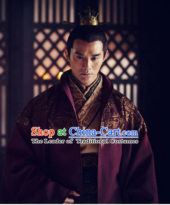 Ancient Chinese Emperor Clothes and Hat Complete Set for Men