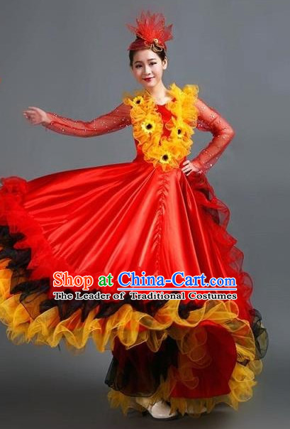 Chinese Ballroom Dance Costume and Headdress for Women Girls