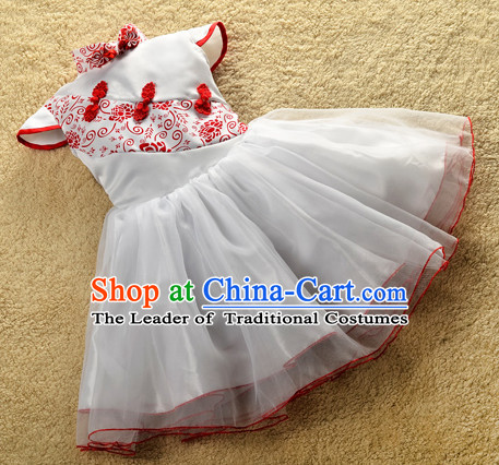 Red Traditional Chinese Classical Group Dance Dancing Costumes Complete Set for Girls