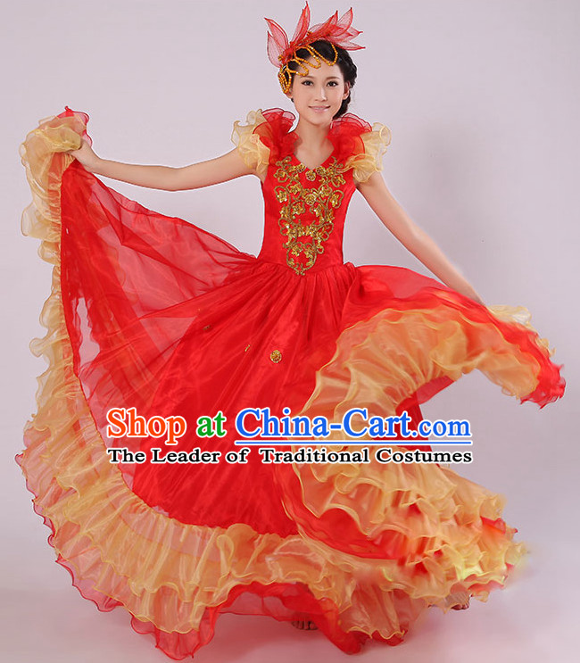 Chinese Stage Spainish Dance Costumes and Headdress for Women