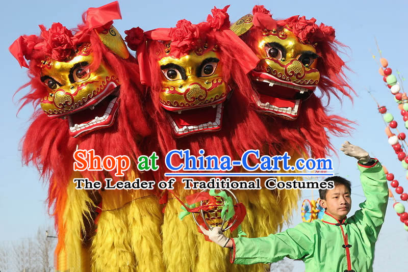 Chinese Traditional Hebei Province Northern Lion Dancing Costume Complete Set for Kids