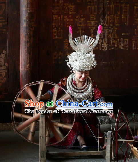 Chinese Traditional Miao Ethnic Clothing and Silver Hat Complete Set for Women or Girls