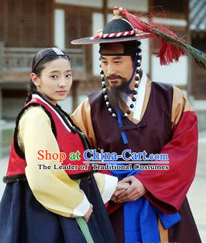 Top Korean Traditional Dresses and Hat Complete Set for Women or Men