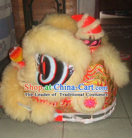 Top Beige 2008 Beijing Olympic Chinese Classical 100% Natural Long Wool Lion Dance Costumes Complete Set