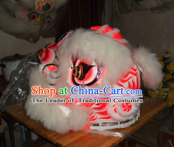 Top Chinese 100_ Natural Long Wool Fut San Lion Dancing Costumes Complete Set