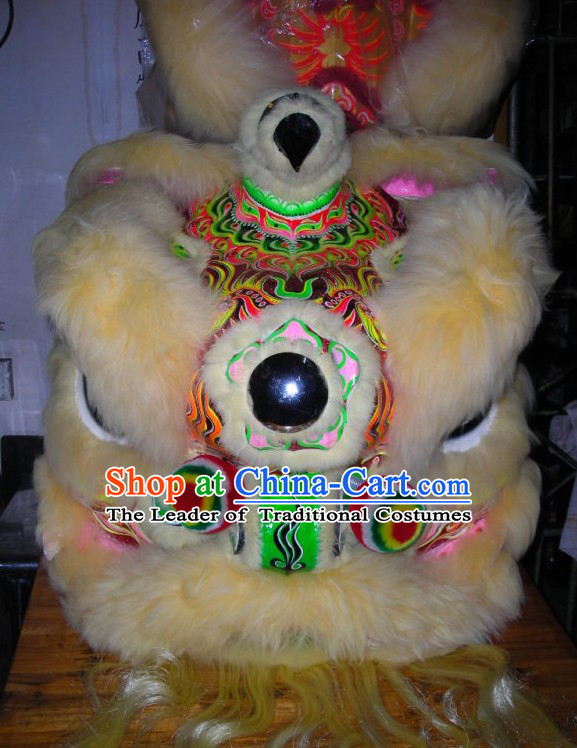Top Beige Chinese Traditional 100% Natural Long Wool Futsan Style Lion Dancing Uniform Complete Set