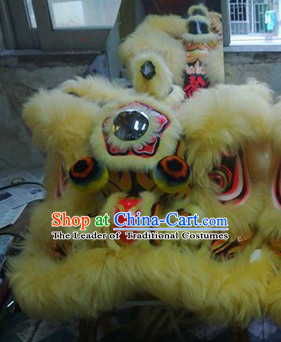 Top Chinese Classical 100% Natural Long Wool Fut San Lion Dance Costume Complete Set
