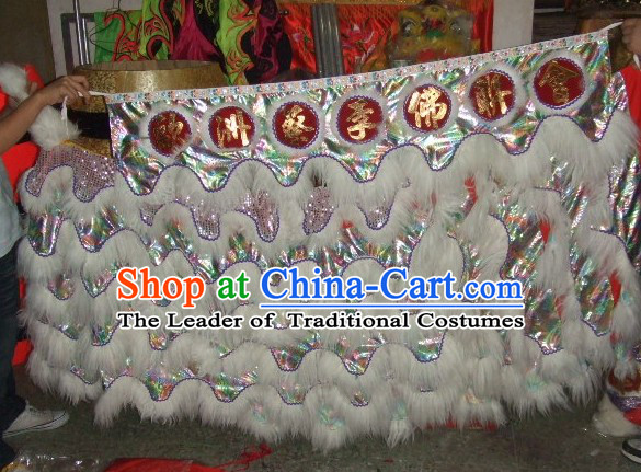 Chinese Traditional 100% Natural Long Wool Lion Dancing Body Costume Pants Claws Set