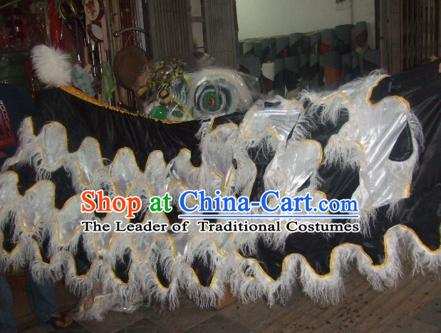 Chinese Traditional 100% Natural Long Wool Lion Dance Body Costumes Pants Claws Set