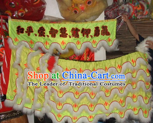 Chinese Traditional 100_ Natural Long Wool Lion Dance Body Costume Pants Claws Set