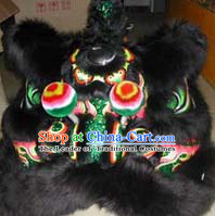 Top Black Green Teenagers Students Chinese Classical 100% Natural Long Wool Fut San Lion Dance Costumes Complete Set