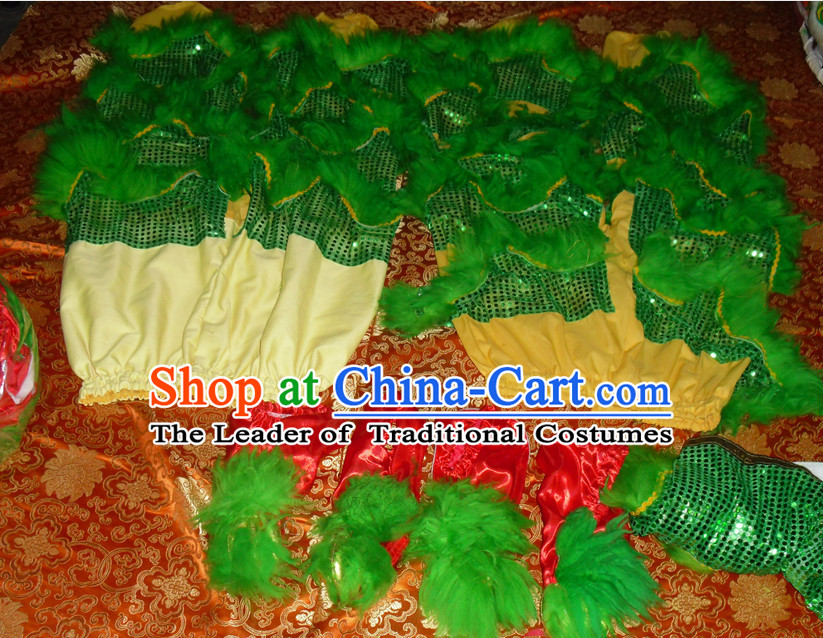 Green Top Asian Chinese Lion Dance Troupe Performance Suppliers 2 Pairs of Pants and Claws