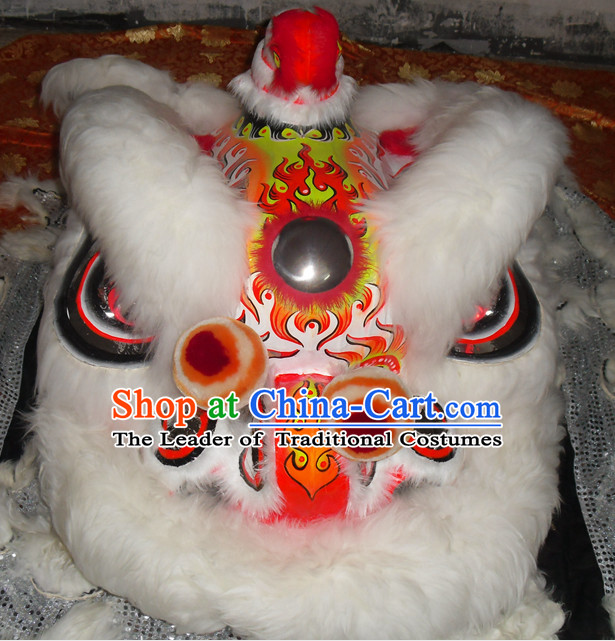 White Wool Top Asian Chinese Lion Dance Troupe Performance Suppliers Pants Equipments Art Instruments Lion Tail Costumes Complete Set for Men