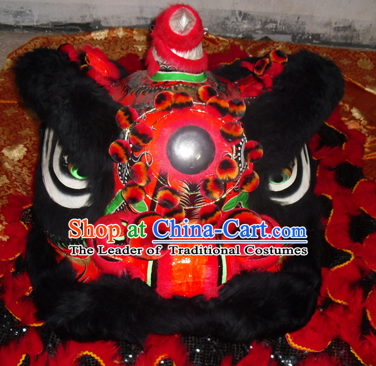 Black Wool Top Asian Chinese Lion Dance Troupe Performance Suppliers Pants Equipments Art Instruments Lion Tail Costumes Complete Set for Men