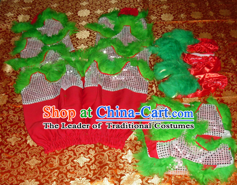 Grass Green Top Asian Chinese Lion Dance Troupe Performance Suppliers 2 Pairs of Pants and Claws