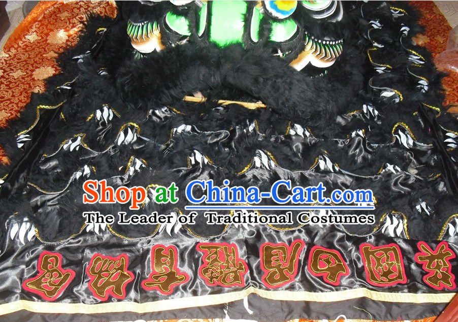 Black Color Top Asian Chinese Lion Dance Troupe Performance Suppliers Pants Equipments Art Instruments Lion Tail Costumes Set