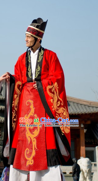 Ancient Chinese Clothing Dress Garment and Hat Complete Set for Men