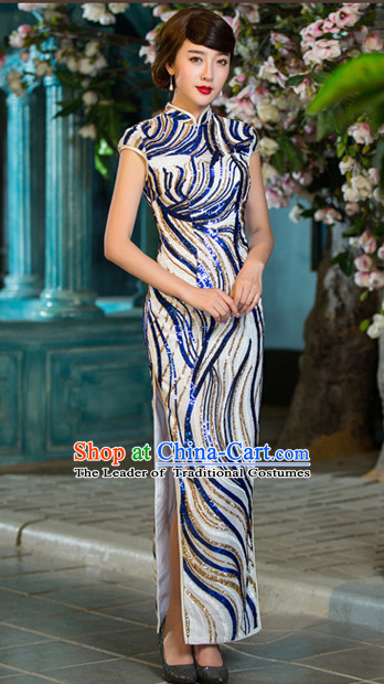 Traditional Handmade Shinning Sequined Cheongsam