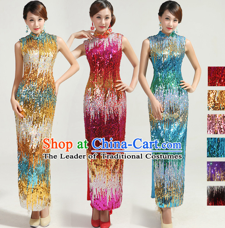 Sleeveless Traditional Handmade Shinning Sequined Cheongsam