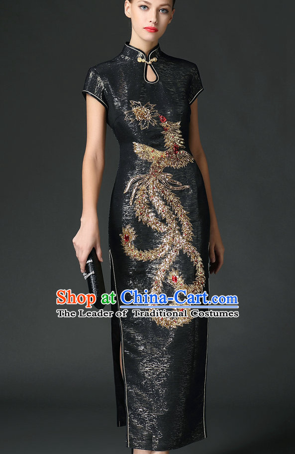 Traditional Handmade Shinning Sequined Phoenix Long Cheongsam