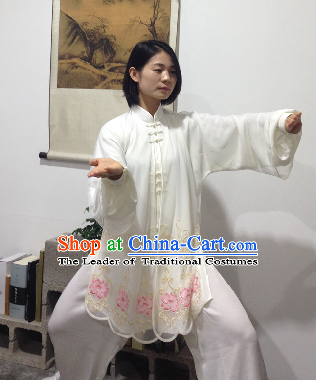 Long Chinese Traditional Mandarin Martial Arts Tai Chi Kung Fu Gong Fu Competition Championship Three Pieces Suits Uniforms for Men Women Children