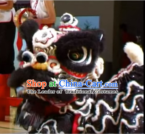 Chinese Classical Style Black Fut San Lion Dance Equipment Complete Set