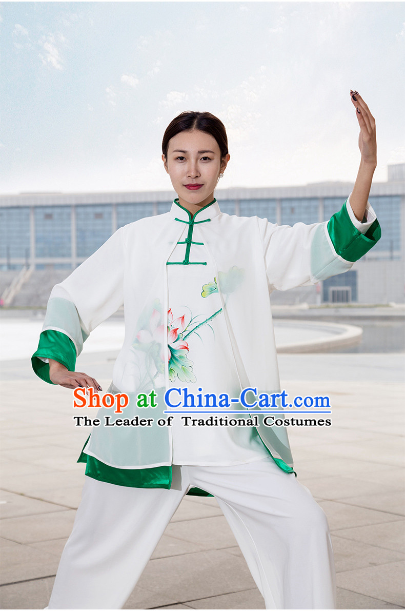 Chinese Traditional Mandarin Martial Arts Tai Chi Kung Fu Gong Fu Competition Championship Suits Uniforms for Women Children