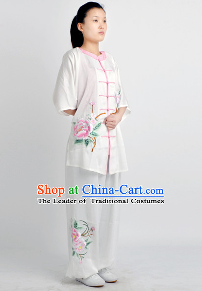 Chinese Classical Style Martial Arts Summer Wear Kung Fu Embroidered Uniforms