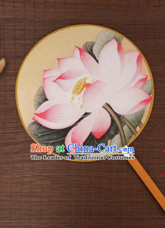 Chinese Traditional Classic Handmade Lotus Gong Shan Palace Fan Round Fan Mandarin Fan Dance Fan