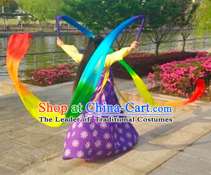 3 Meters Long Pure Silk Handmade Rainbow Color Dance Ribbon