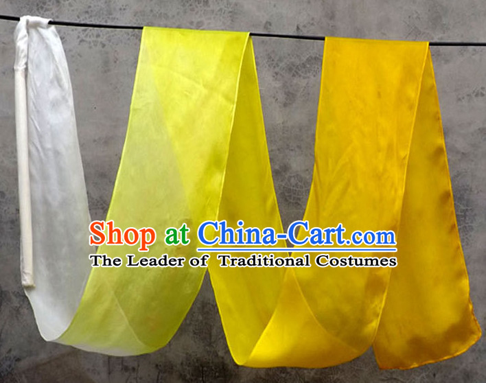 Top 3 Meters Pure Silk White to Yellow Color Changing Colr Change Dance Ribbon Dancing Ribbons