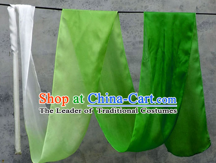 Top 3 Meters Pure Silk White to Green Color Changing Colr Change Dance Ribbon Dancing Ribbons