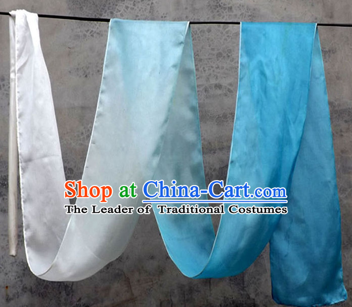 Top 3 Meters Pure Silk White to Blue Color Changing Colr Change Dance Ribbon Dancing Ribbons