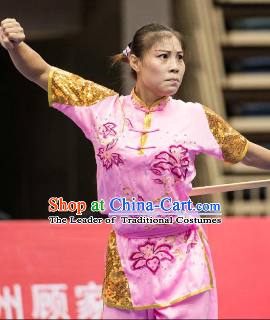 Top Pink Kung Fu Competition Championship Uniforms Pants Suit Taekwondo Apparel Karate Suits Attire Robe Championship Costume Chinese Kungfu Jacket Wear Dress Uniform Clothing Taijiquan Shaolin Chi Gong Taichi Suits for Men Women Kids