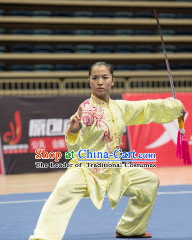 Top Yellow Kung Fu Competition Championship Uniforms Pants Suit Taekwondo Apparel Karate Suits Attire Robe Championship Costume Chinese Kungfu Jacket Wear Dress Uniform Clothing Taijiquan Shaolin Chi Gong Taichi Suits for Men Women Kids
