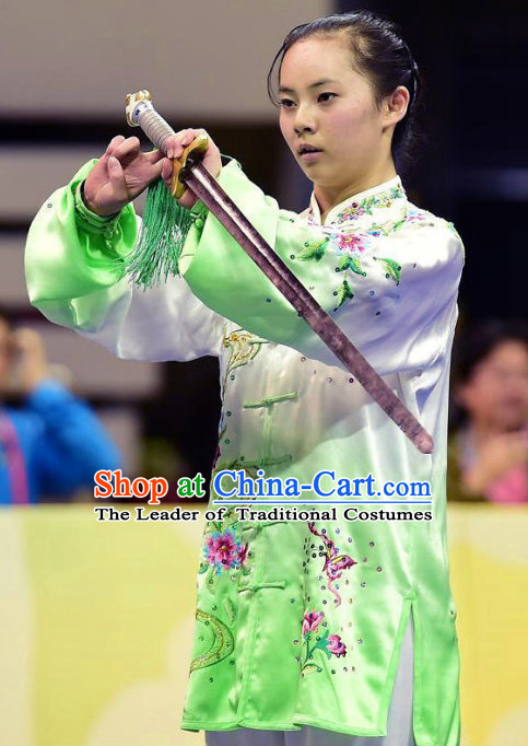 Top Green Kung Fu Competition Championship Uniforms Pants Suit Taekwondo Apparel Karate Suits Attire Robe Championship Costume Chinese Kungfu Jacket Wear Dress Uniform Clothing Taijiquan Shaolin Chi Gong Taichi Suits for Men Women Kids