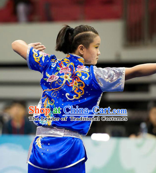 Top Blue Kung Fu Competition Championship Uniforms Pants Suit Taekwondo Apparel Karate Suits Attire Robe Championship Costume Chinese Kungfu Jacket Wear Dress Uniform Clothing Taijiquan Shaolin Chi Gong Taichi Suits for Men Women Kids