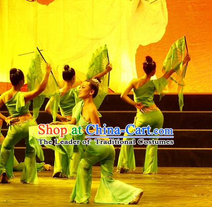 Chinese Green Leaf One Shoulder Dancewear Costumes Dancer Costumes Girls Dance Costumes Chinese Dance Clothes Traditional Chinese Clothes