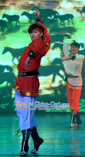 Chinese Traditional Mongolian Dancing Outfits Dancewear Costumes Dancer Costumes Dance Costumes Chinese Dance Clothes Traditional Chinese Clothes Complete Set for Men