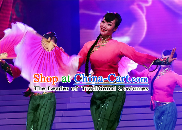 Chinese Traditional Han Ethnic Fan Dancing Dress Dancewear Costumes Dancer Costumes Dance Costumes Chinese Dance Clothes Traditional Chinese Clothes Complete Set for Women