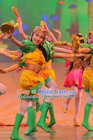 Chinese Traditional Stage Dance Dress Dancewear Costumes Dancer Costumes Dance Costumes Chinese Dance Clothes Traditional Chinese Clothes Complete Set for Kids
