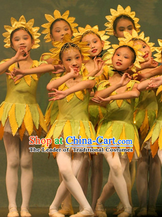 Chinese Stage Sunflower Dancing Dancewear Costumes Dancer Costumes Dance Costumes Chinese Dance Clothes Traditional Chinese Clothes Complete Set for Women Kids