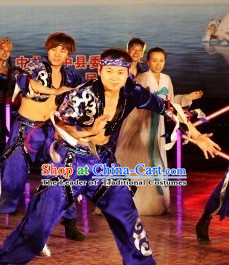 Chinese Ethnic Stage Dancing Dancewear Costumes Dancer Costumes Dance Costumes Chinese Dance Clothes Traditional Chinese Clothes Complete Set for Men Kids
